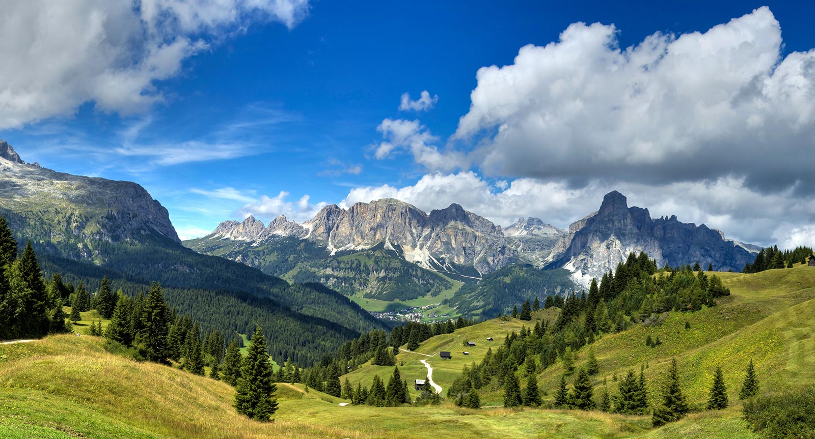 the beautiful mountain panorama of the Dolomites in summer in the Val Badia