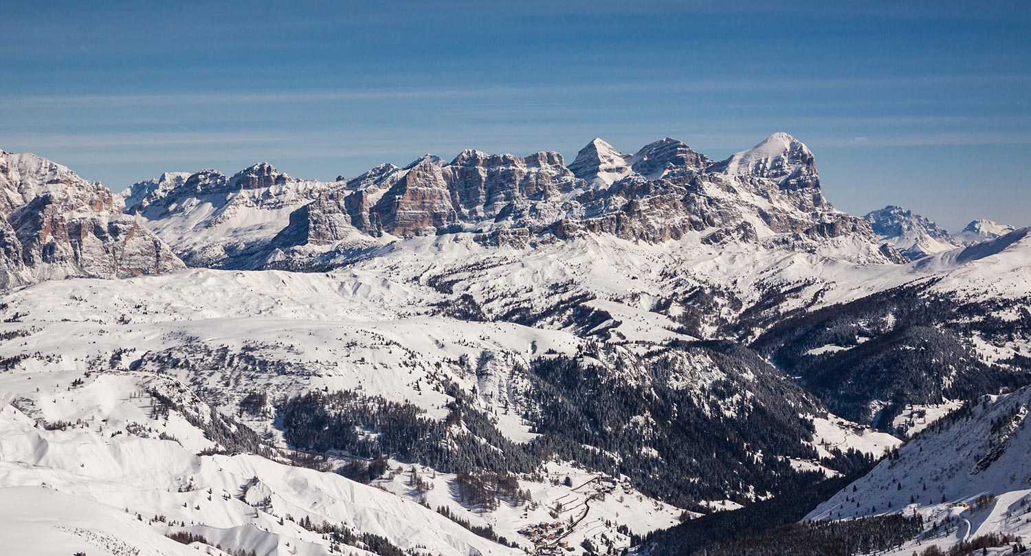 snow-covered Dolomites in Alta Badia in South Tyrol in winter