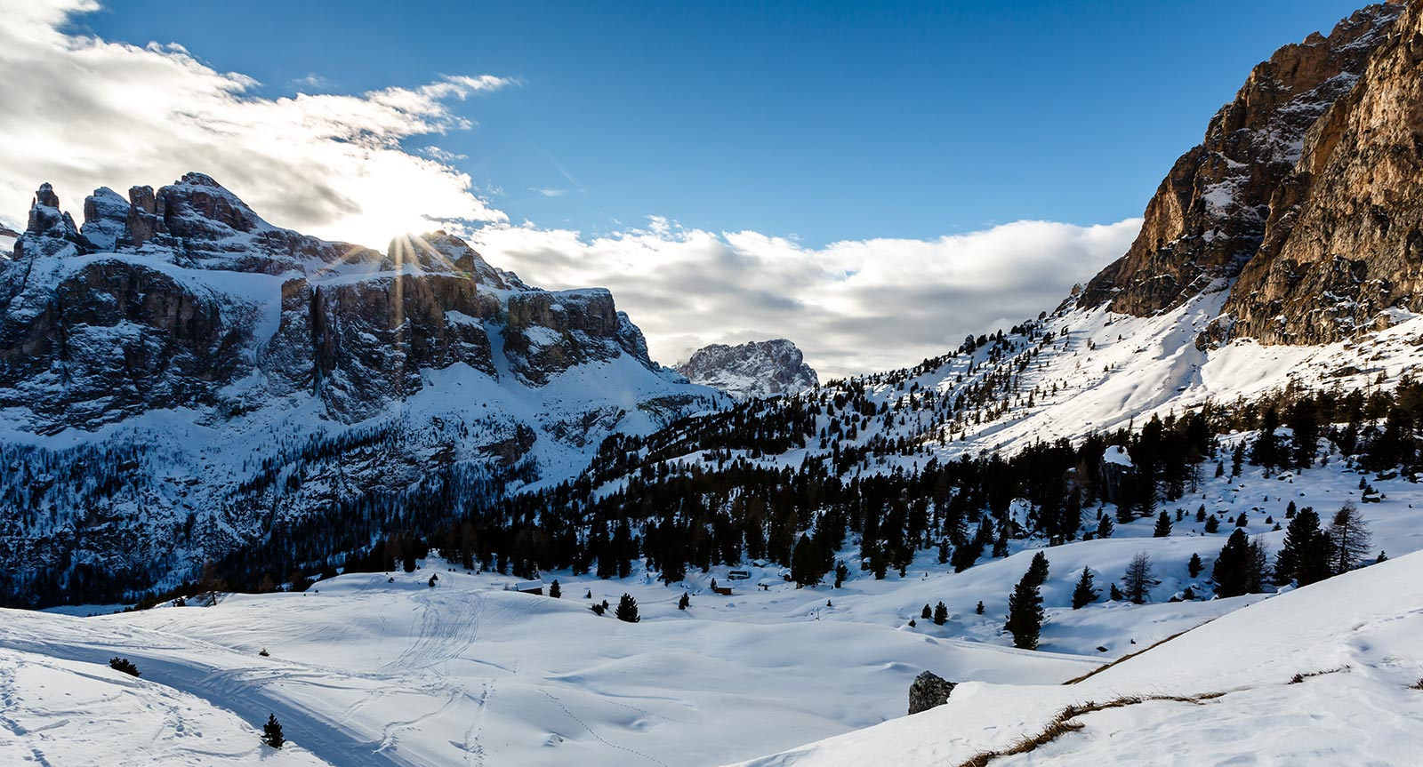 White panorama on the mountain in Alta Badia in winter